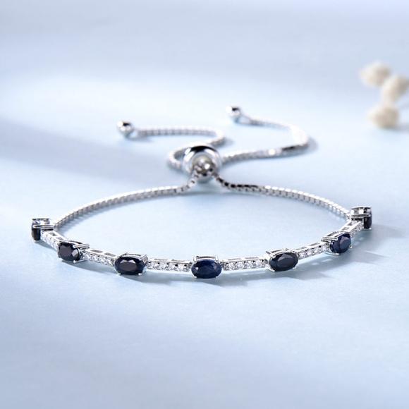 Penfine Jewelry - Luxury Silver Blue Sapphire Bracelet For Women